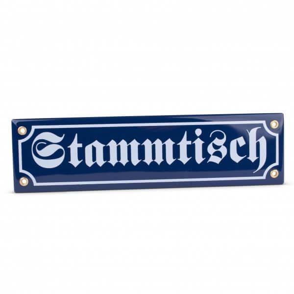 """Emaille-Schild """"Stammtisch"""" blau"""