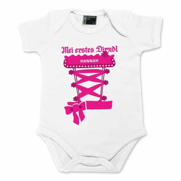 Baby Body Dirndl mit Wunschname pink