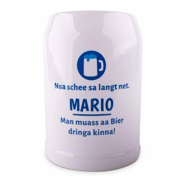 """Bierkrug """"Schee sa langt net"""" blau mit Wunschname"""