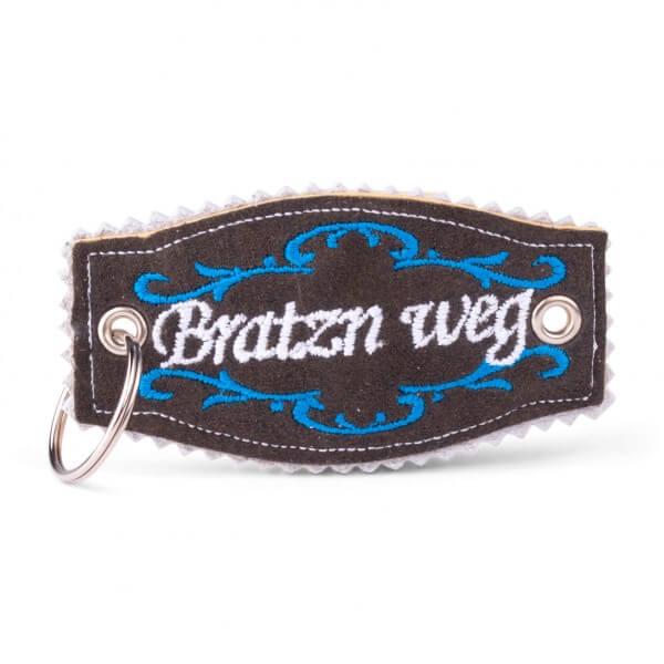 Hirschleder-Schlüsselanhänger 'Bratzn weg'
