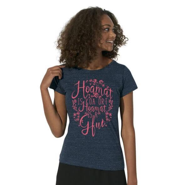 Damen-Shirt 'Hoamat' denim - Größe XL