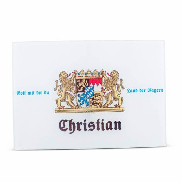 """Glas-Schneidebrett """"Wappen"""" mit Wunschname"""