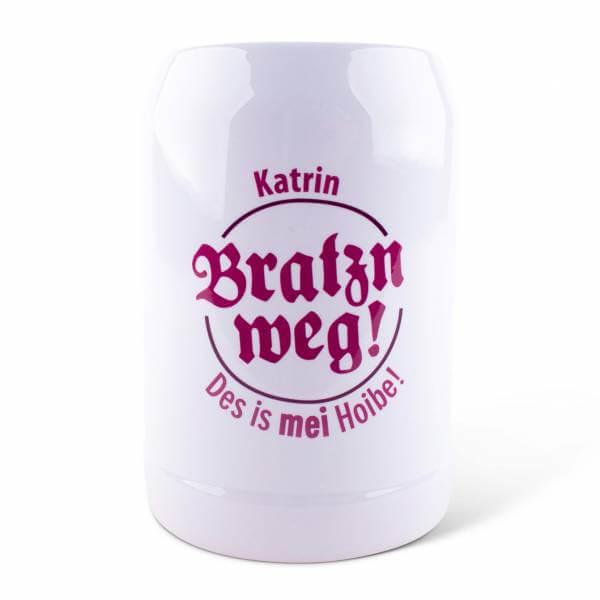 """Bierkrug """"Bratzn weg!"""" pink mit Wunschname"""