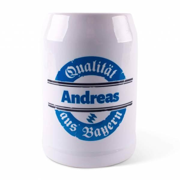 """Bierkrug """"Qualität aus Bayern"""" blau mit Wunschname"""