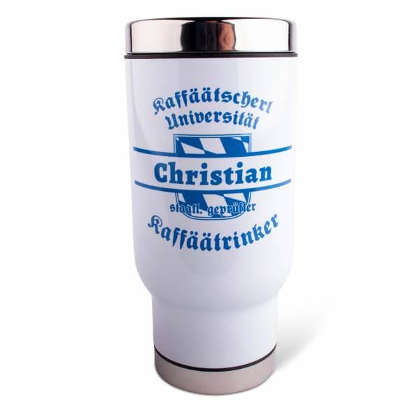"""Thermobecher """"Kaffäätrinker"""" mit Wunschname blau"""