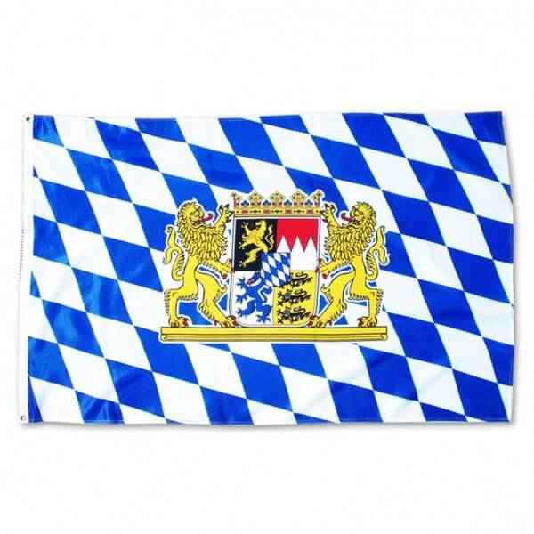 Flagge mit Bayern Wappen und Löwen