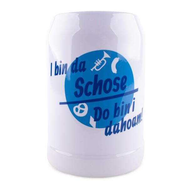 "Bierkrug ""Do bin i dahoam"" blau mit Wunschname"