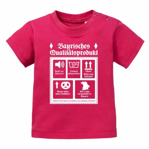 """Baby Shirt """"Bayerisches Qualitätsprodukt"""" sorbet"""