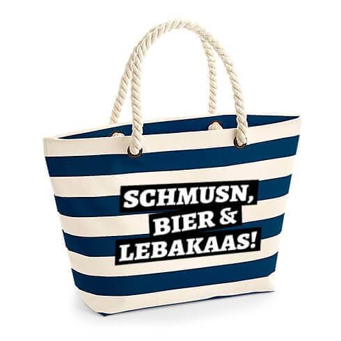 "Strandtasche ""Schmusn, Bier & Lebakaas"" blau"