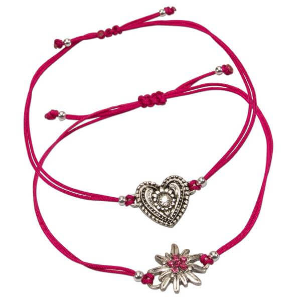 "Trachten-Armband Set ""Edelweiß & Herzal"" pink"