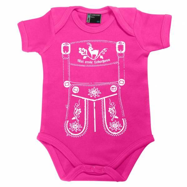 """Baby Body """"Mei erste Lederhosn"""" pink"""