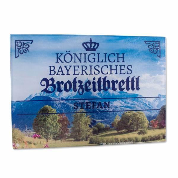 """Königlich bayerisches Brotzeitbrettl """"Panorama"""" mit Wunschname"""