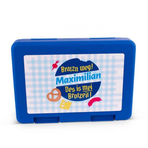 "Brotzeitbox ""Bratzn weg!"" blau mit Wunschname"