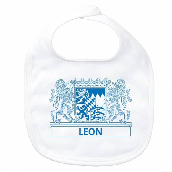 """Baby Lätzchen """"Wappen"""" mit Wunschname blau"""