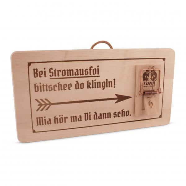 "Holzschild ""Stromausfoi"""