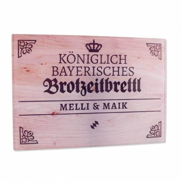"""Königlich bayerisches Brotzeitbrettl """"Holzoptik"""" mit Wunschname"""