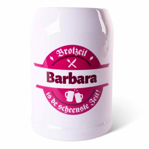 """Bierkrug """"Brotzeit"""" pink mit Wunschname"""
