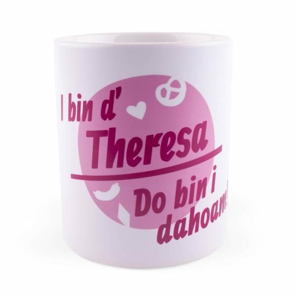 """Tasse """"Do bin i dahoam"""" mit Wunschnamen pink"""
