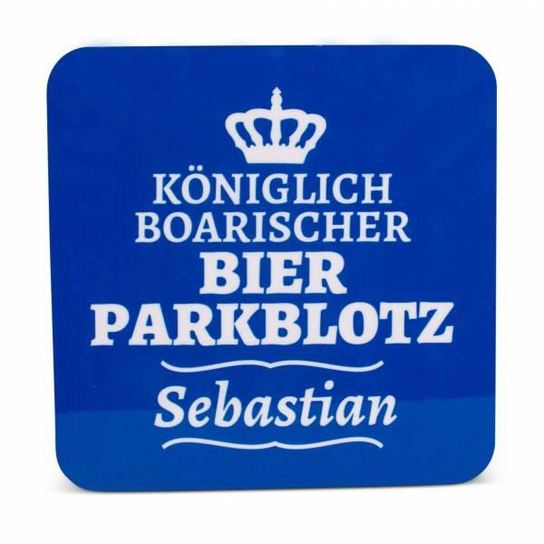 """Untersetzer """"Bierparkblotz"""" blau mit Wunschname"""