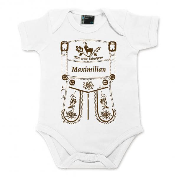 Baby Body Lederhose mit Wunschname braun