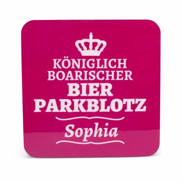 """Untersetzer """"Bierparkblotz"""" pink mit Wunschname"""