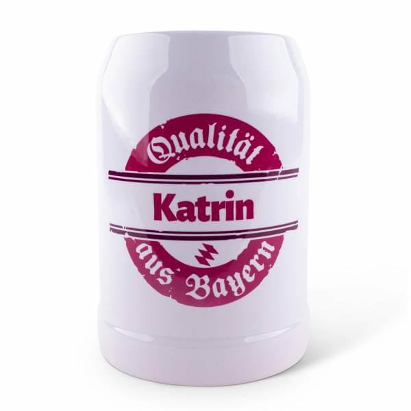 """Bierkrug """"Qualität aus Bayern"""" pink mit Wunschname"""