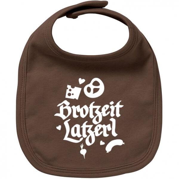 """Babylätzchen """"Brotzeit Latzerl"""" braun"""