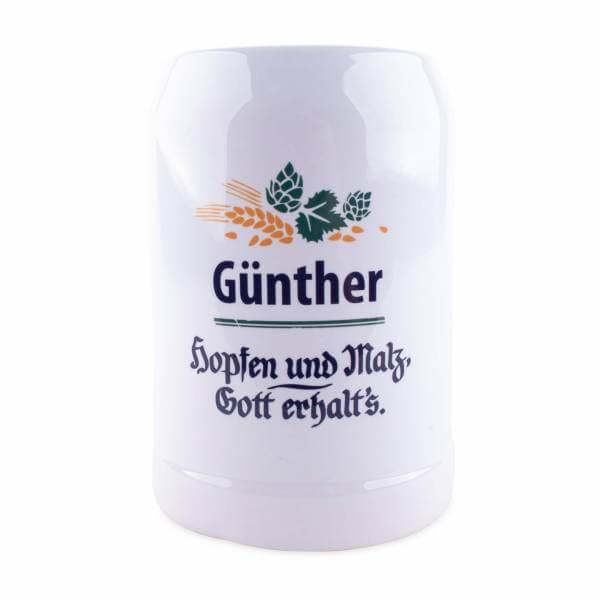 """Bierkrug """"Hopfen & Malz"""" mit Wunschname"""