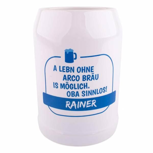"""Bierkrug """"A Lebn ohne"""" mit Wunschname + Brauerei"""