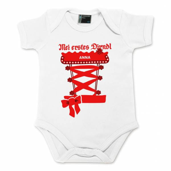 Baby Body Dirndl mit Wunschname rot