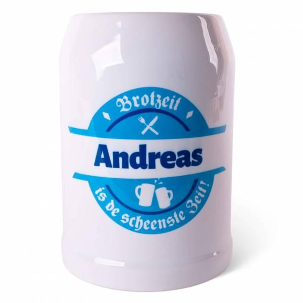 """Bierkrug """"Brotzeit"""" blau mit Wunschname"""
