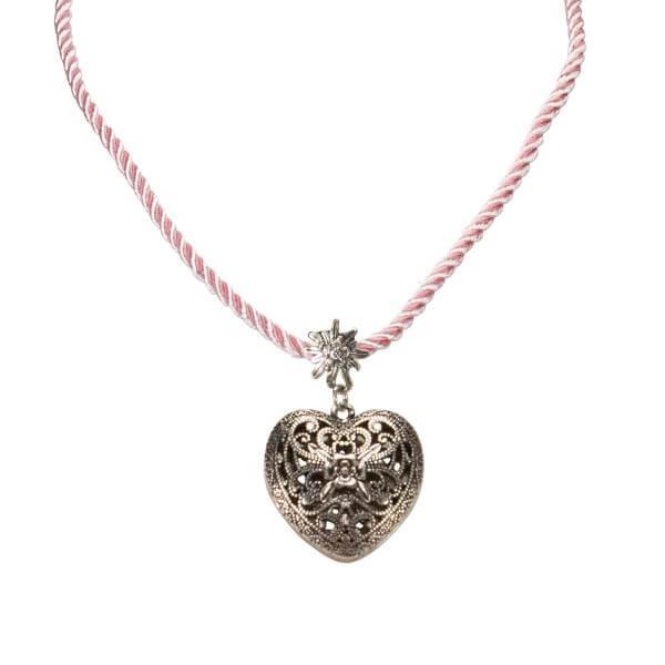 "Kordel-Halskette ""Trachtenherz"" rosa"