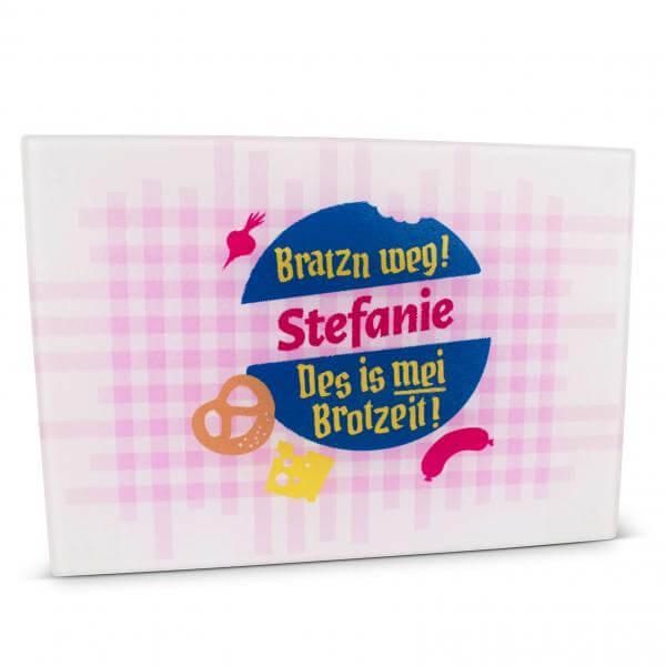 """Glas-Schneidebrett """"Bratzn weg!"""" pink mit Wunschname"""