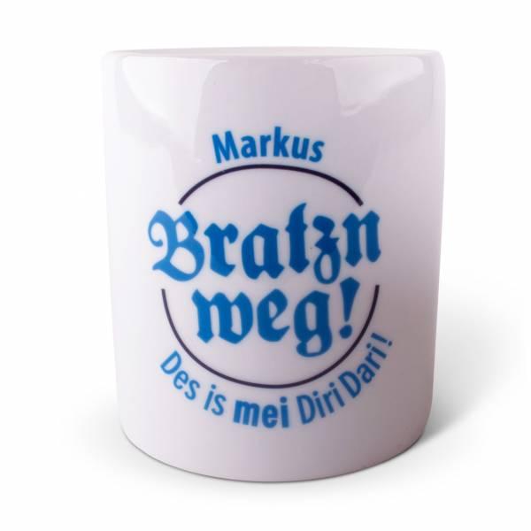 "Spardose ""Bratzn weg!"" blau mit Wunschname"