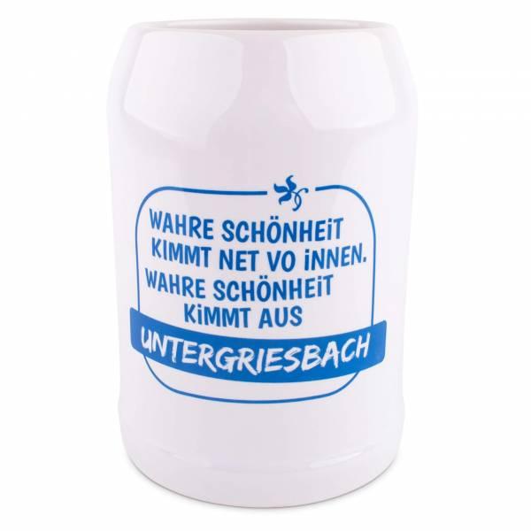 """Bierkrug """"Schönheit"""" blau mit Wunschort"""