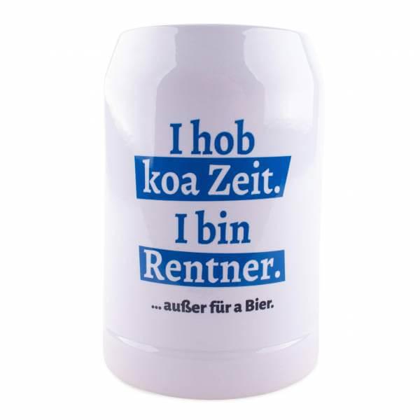"""Bierkrug """"I hob koa Zeit. I bin Rentner."""" blau"""