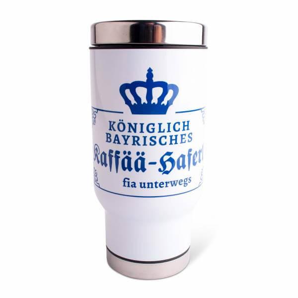 """Thermobecher """"Kaffää-Haferl fia unterwegs"""" blau"""