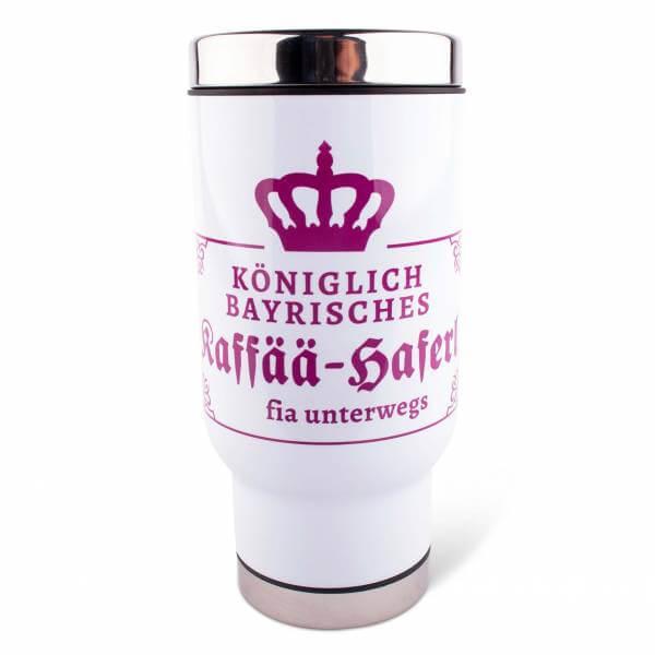 """Thermobecher """"Kaffää-Haferl fia unterwegs"""" pink"""