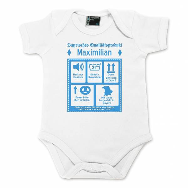 """Baby Body """"Bayrisches Qualitätsprodukt"""" mit Wunschname blau"""