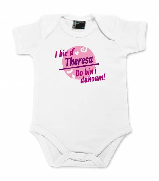 "Baby Body ""Do bin i dahoam"" mit Wunschname pink"