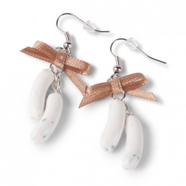 Handgemachte Weißwurst Ohrringe