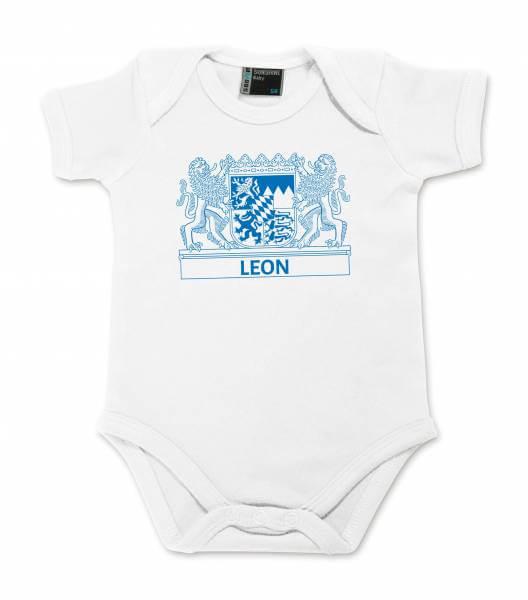 "Baby Body ""Wappen"" mit Wunschname blau"