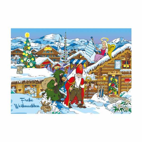 Postkarte 'Nikolaus & Krampus'