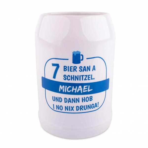 """Bierkrug """"7 Bier"""" mit Wunschname"""