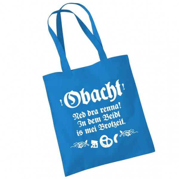 Tasche 'Obacht, ned dra renna ...' blau